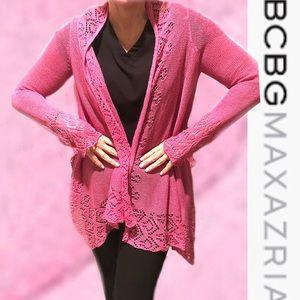 BCBG Maxazria Open Knit Pink Sweater Wrap Small